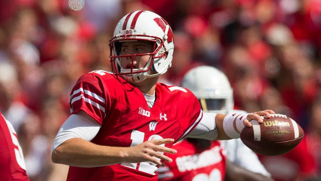 Wisconsin redshirt freshman quarterback Alex Hornibrook (12) throws a pass during the Badgers' 23-17 win over Georgia State on Saturday in Madison, Wisconsin.