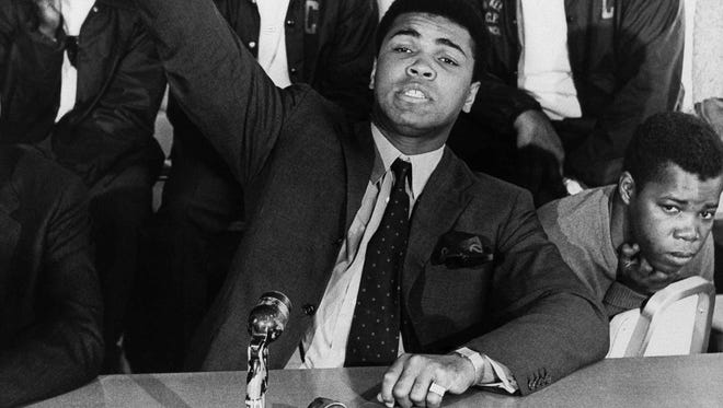 Muhammad Ali, shown in 1968 in Madison, Wisc., did speaking engagements at universities around the country, telling students that the black and white races must be separate in America.