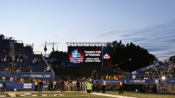 This was the scene as fans left the Hall of Fame Game at Tom Benson Hall of Fame Stadium in Canton, Ohio, on Sunday.