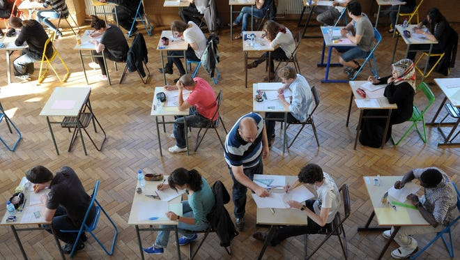 French students take a high school graduation exam in 2012 at the Pasteur high school in Strasbourg. Students in many countries have performed better than their U.S. counterparts on some standardized tests in recent years.