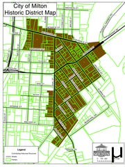 A map of the city of Milton Historic District. The