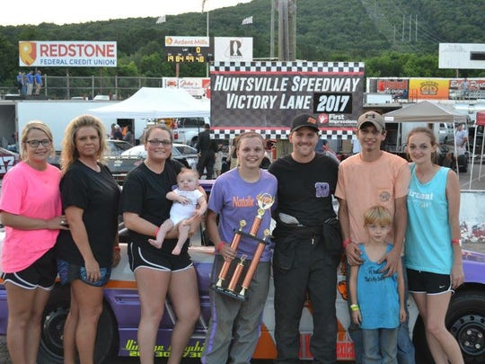 Kassey Rogers with her family at the Huntsville Speedway.