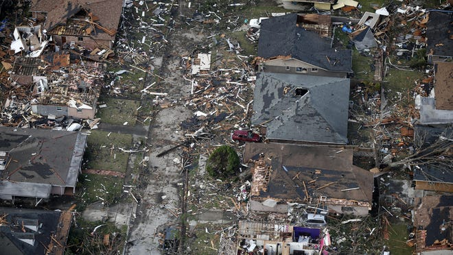 Destroyed and damaged homes are seen in this aerial photo, after a tornado tore through the eastern neighborhood in New Orleans, Tuesday, Feb. 7, 2017.