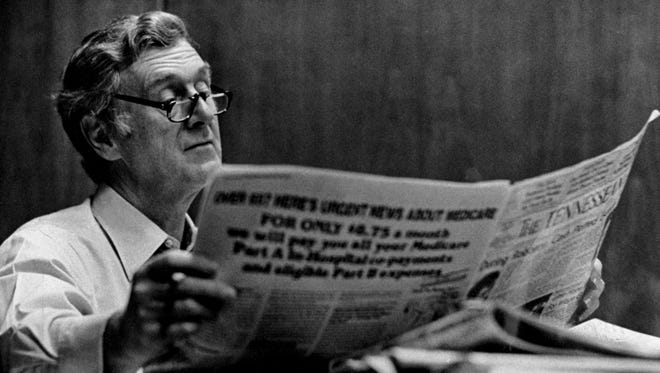 The Tennessean Publisher John Seigenthaler reads over the day's paper May 13, 1982.