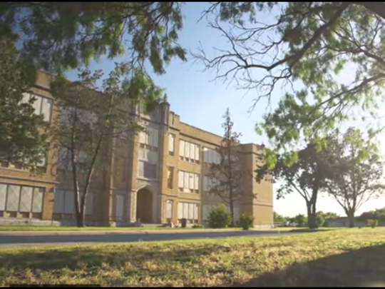 Screen image of Lincoln Middle School from Abilene Heritage Square project proposal video.