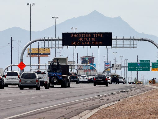 An Arizona Department of Transportation sign gives