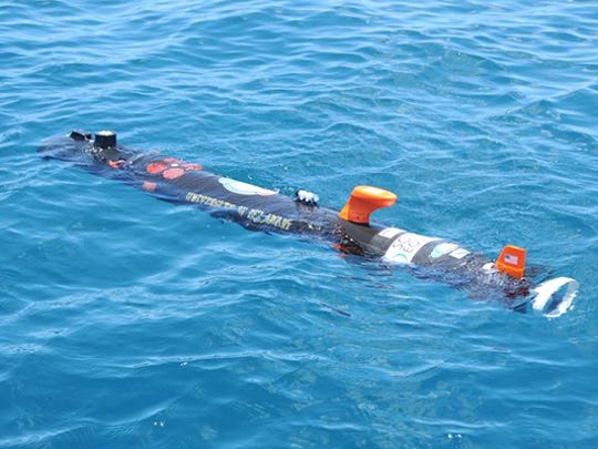 The University of Delaware's autonomous underwater vehicle, which uses sidescan sonar to scan the bottom of the ocean floor, including ridges of sand, deep valleys and corals.