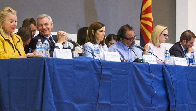 The U.S. House Homeland Security Subcommittee holds a rare field hearing at the University of Arizona College of Medicine-Phoenix on May 30, 2018, to discuss the national opioid crisis. From left are: U.S. Rep. Debbie Lesko, U.S. Rep. David Schweikert, Chairwoman and U.S. Rep. Martha McSally, U.S. Rep. Raúl Grijalva, U.S. Rep. Kyrsten Sinema and U.S. Rep. Ruben Gallego.