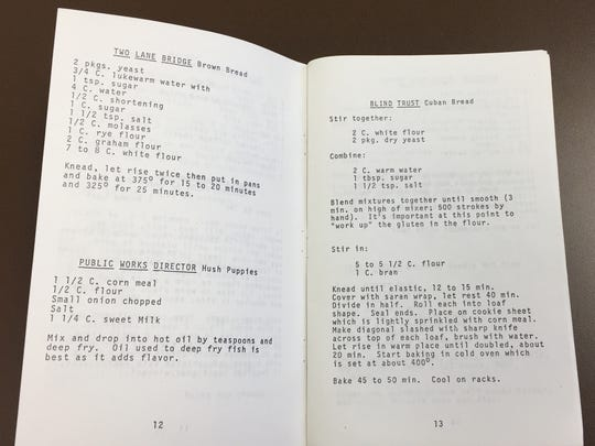 Recipes compiled by residents of the Southside/Southeast Neighborhoods Association in 1979 criticize city plans to replace the 10th Street Bridge with a four-lane bridge.