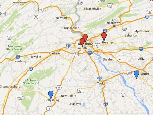 Map: Presidential candidate stops in central Pa.