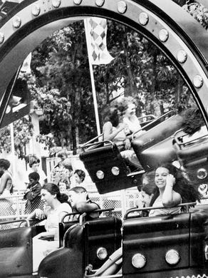 1979: Riders enjoy the Octopus ride at Great Adventure.
