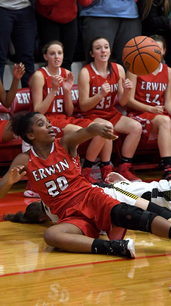 Erwin and Tuscola faced off in the girls WMAC tournament