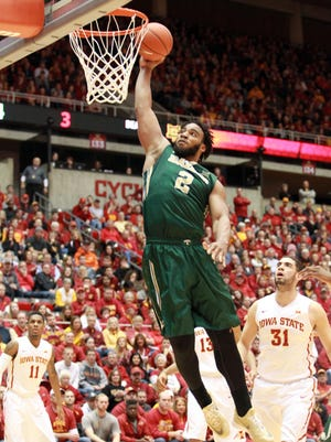 Baylor Bears forward Rico Gathers (2) dunks against the Iowa State Cyclones at James H. Hilton Coliseum.