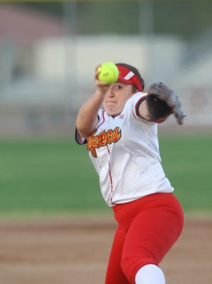 Palm Desert High School's Trinity Villa pitches to La Quinta High School during their game at Palm Desert on Tuesday.