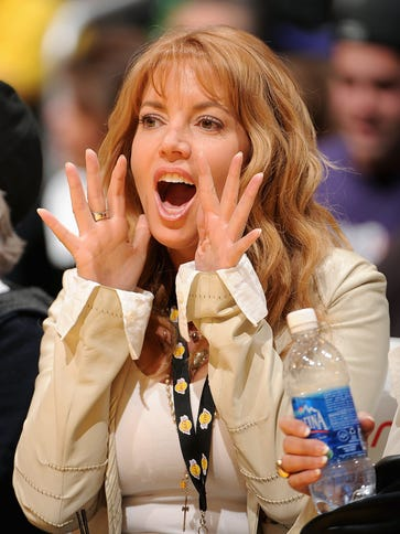 Jeanie Buss, shown here in 2009, cheers on the Lakers.