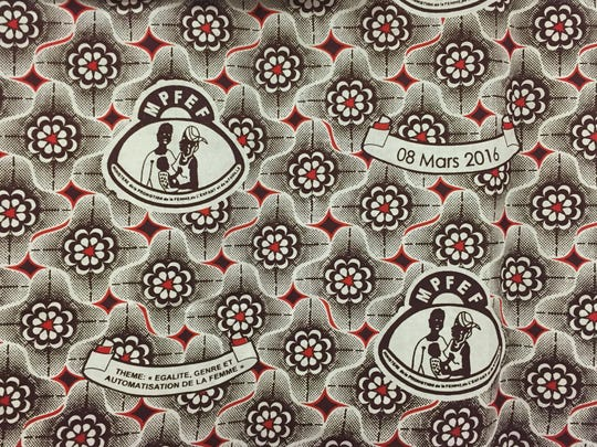 Fabric printed in Mali, a west African country, for the observation of this year's International Women's Day. Men wear shirts and women dresses made from the fabric, which was displayed at a Choteau observation of the occasion.