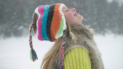 A file photo of a girl enjoying a snowfall. National Weather Service forecasters expect snowfall Wednesday, Saturday and late next week.
