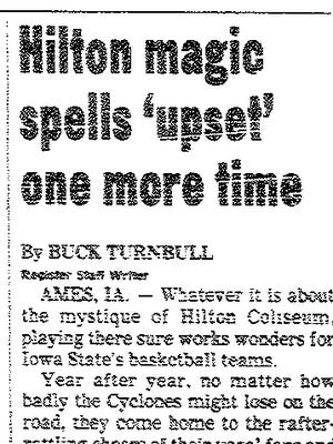 """A Des Moines Register headline from Feb. 16, 1989, referencing """"Hilton Magic."""""""