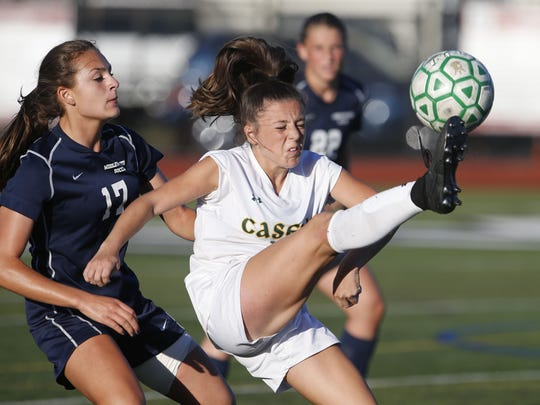 Filomena Degregorio (17) of Middletown South defends against Sophia Giamanco (10) of Red Bank Catholic during girls high school soccer game at Count  Basie Park, Red Bank,NJ. Wednesday, October 4, 2017.  Noah K. Murray-Correspondent Asbury Park Press