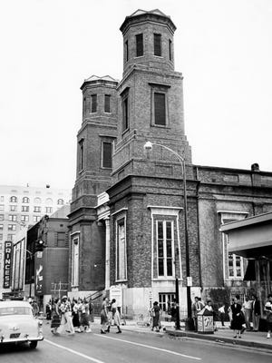 Here's what the Downtown Presbyterian Church looked like in 1954, when the Waffle Shop was already 29 years old.