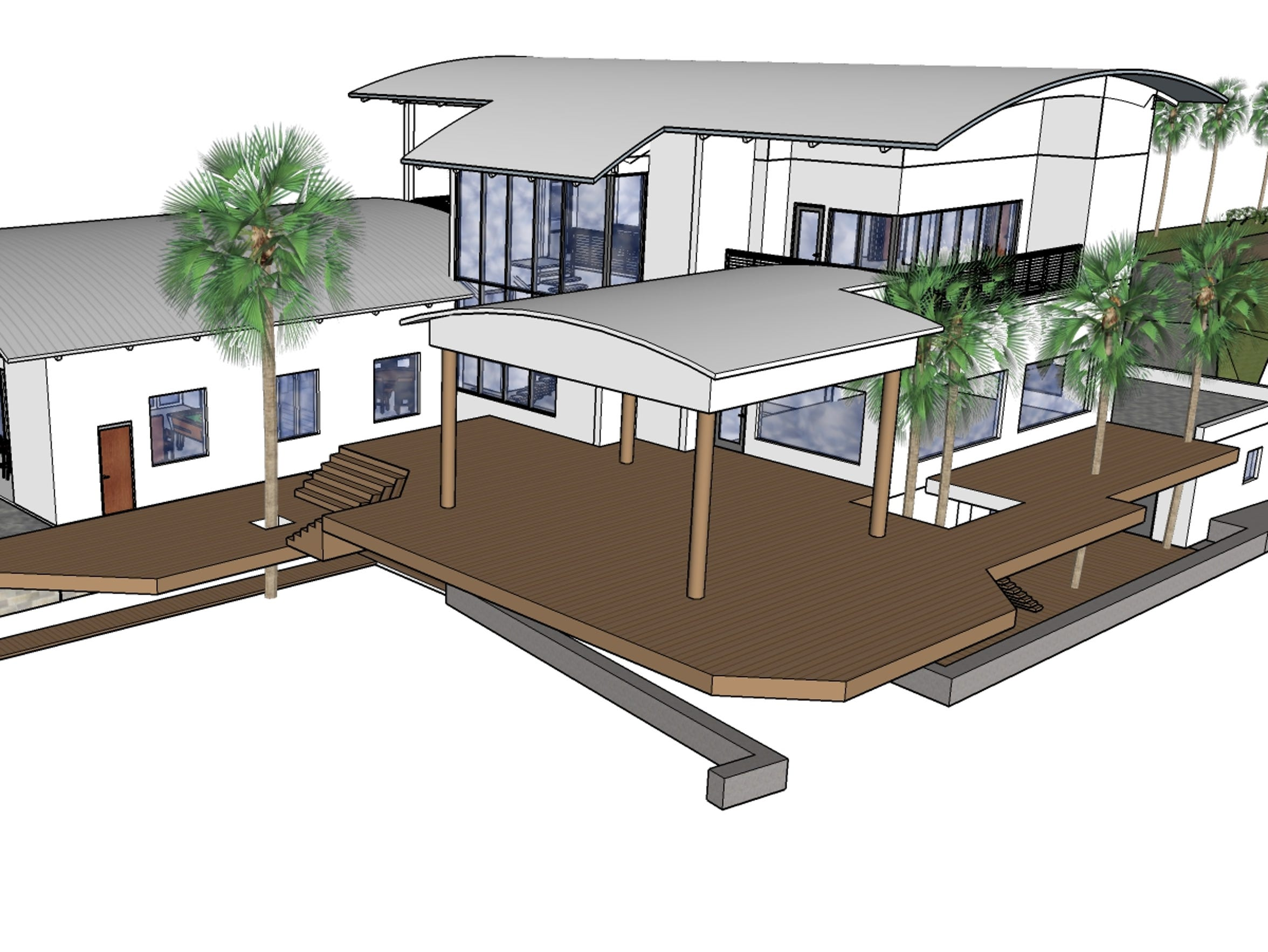 A rendering of what the new, modern home will look