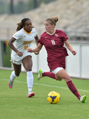 "Isabella Schmid notched the game winner for FSU vs. USC Sunday at the ""Lobo Invitational""."