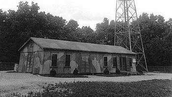 Radio set SR-271-D at Camp Evans Signal Laboratory in Wall Township during WWII.