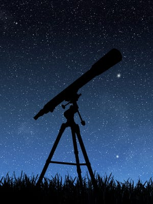 Telescope and stars in the sky