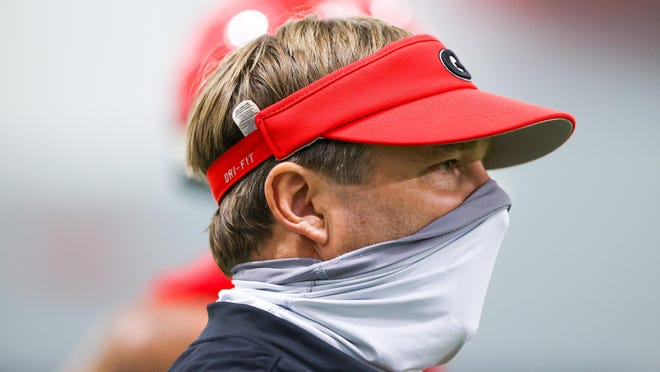Georgia football coach Kirby Smart during the Bulldogs' practice in Athens on Aug. 17.