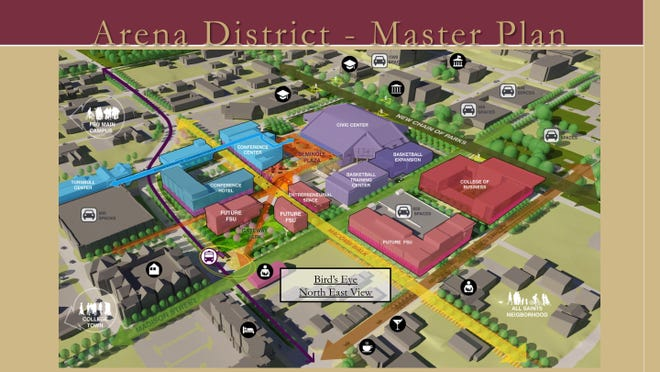 Officials say the Arena District will include 15 to 20 acres within the urban core that expands Florida State's campus and is within reach to downtown and Florida A&M University.