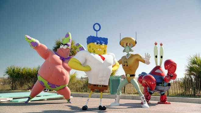 """Patrick Star, left, (as Mr. Superawesomeness), SpongeBob SquarePants (as The Invincibubble), Squidward Tentacles (as Sour Note), and Mr. Krabs (as Sir Pinch-A-Lot), in a scene from the animated motion picture """"Spongebob: Sponge Out of Water.""""  CREDIT: Paramount Pictures [Via MerlinFTP Drop]"""