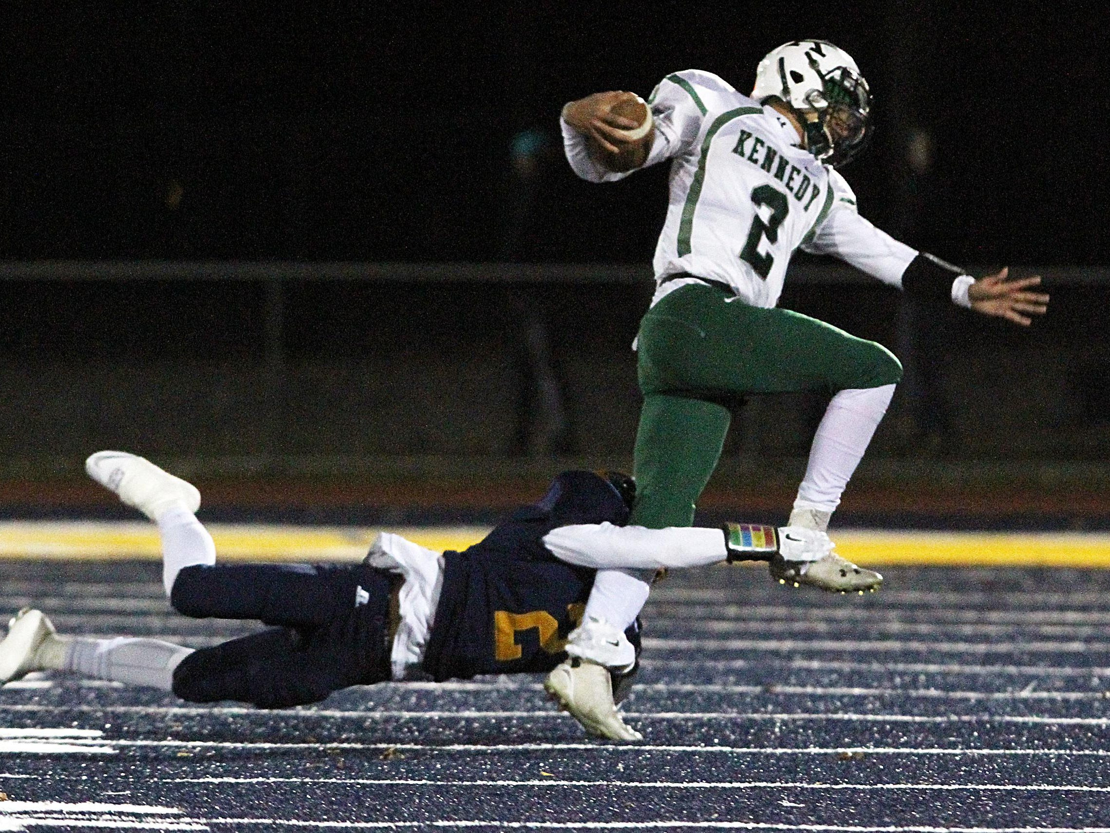 John F. Kennedy Memorial High School at Colonia in North 2 Group IV football semifinalColonia's # 2 (left)- Chase Barneys tackles JFK's # 2 (right)- Andrew Roberts.On Friday November 21,2014Photo: Mark R. Sullivan/Staff Photographer