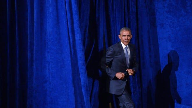 President Obama, preparing to speak to Organizing for Action.