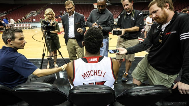 Donovan Mitchell speaks to the press during the University of Louisville basketball media day on Tuesday afternoon.October 11, 2016