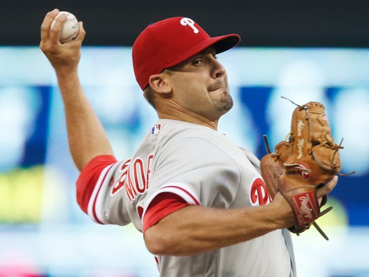 Philadelphia Phillies pitcher Adam Morgan throws against the Minnesota Twins in the first inning of a baseball game Wednesday, June 22, 2016, in Minneapolis. (AP Photo/Jim Mone)
