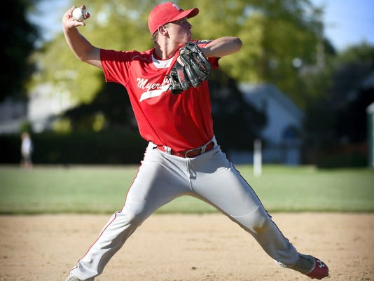 Myerstown third baseman Cole Miller fires to first to record an out on Wednesday night.
