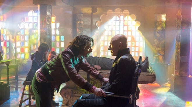 """James McAvoy, left, and Patrick Stewart in """"X-Men: Days of Future Past."""""""