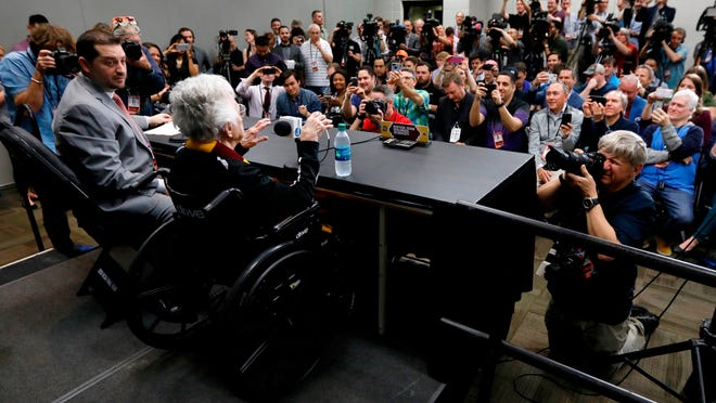 Loyola's Sister Jean Dolores Schmidt answers questions during a press conference at the Final Four, Friday, March 30, 2018 in San Antonio, Texas.
