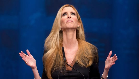 In this Feb. 10, 2012, file photo, Ann Coulter gestures