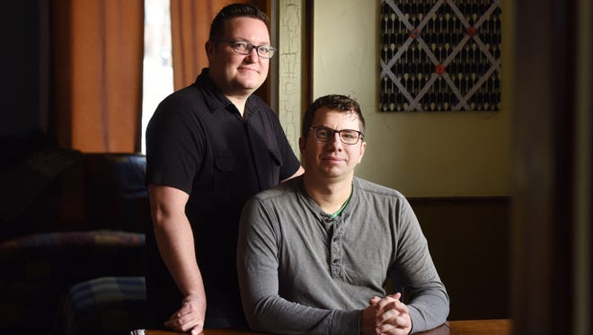 Billy Mawhiney (left) and his husband, Kyle Margheimspent more than two years going through criminal background checks, submitting financial disclosure statements and attending parenting classes before they could become foster parents.