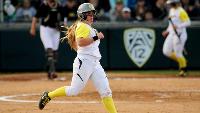 Oregon first baseman Hailey Decker runs to second base against NC State during the NCAA Super Regional at Howe Field, on Friday, May 22, 2015, in Eugene.