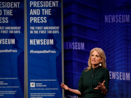 """Kellyanne Conway, counselor to the President, speaks at the Newseum during their """"The President and The Press: The First Amendment in the First 100 Days"""" event April 12, 2017, in Washington, D.C. Conway, formerly President Trump's campaign manager, is one of the administration's main surrogates appearing often on television."""