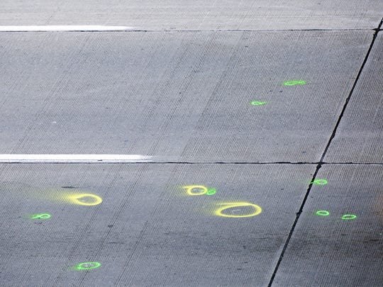 Circles mark the scene the road along Interstate 75