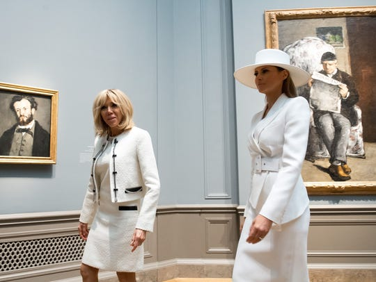 First lady Melania Trump and French first lady Brigitte