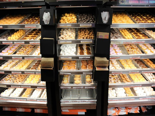Before the rush Monday morning, doughnut cases are
