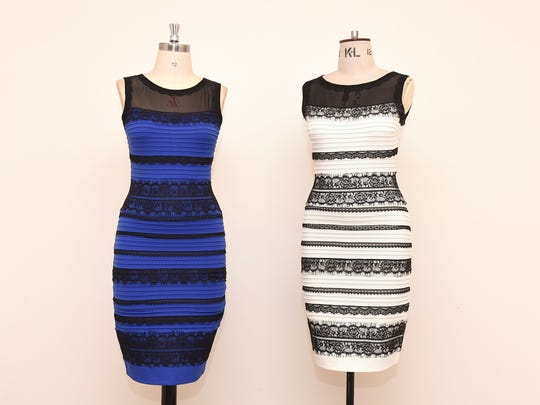 The two-tone dress, left,  alongside an ivory and black