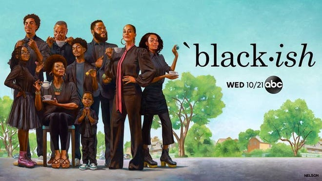 """When ABC decided the Johnsons of """"black-ish"""" were due a portrait, it sought artist Kadir Nelson, a chronicler of contemporary African American experience and a fan of the sitcom. The result is a captivatingly sly oil-on-canvas work that depicts cast members including Anthony Anderson and Tracee Ellis Ross in character as part of a riff on the """"sipping tea"""" meme."""