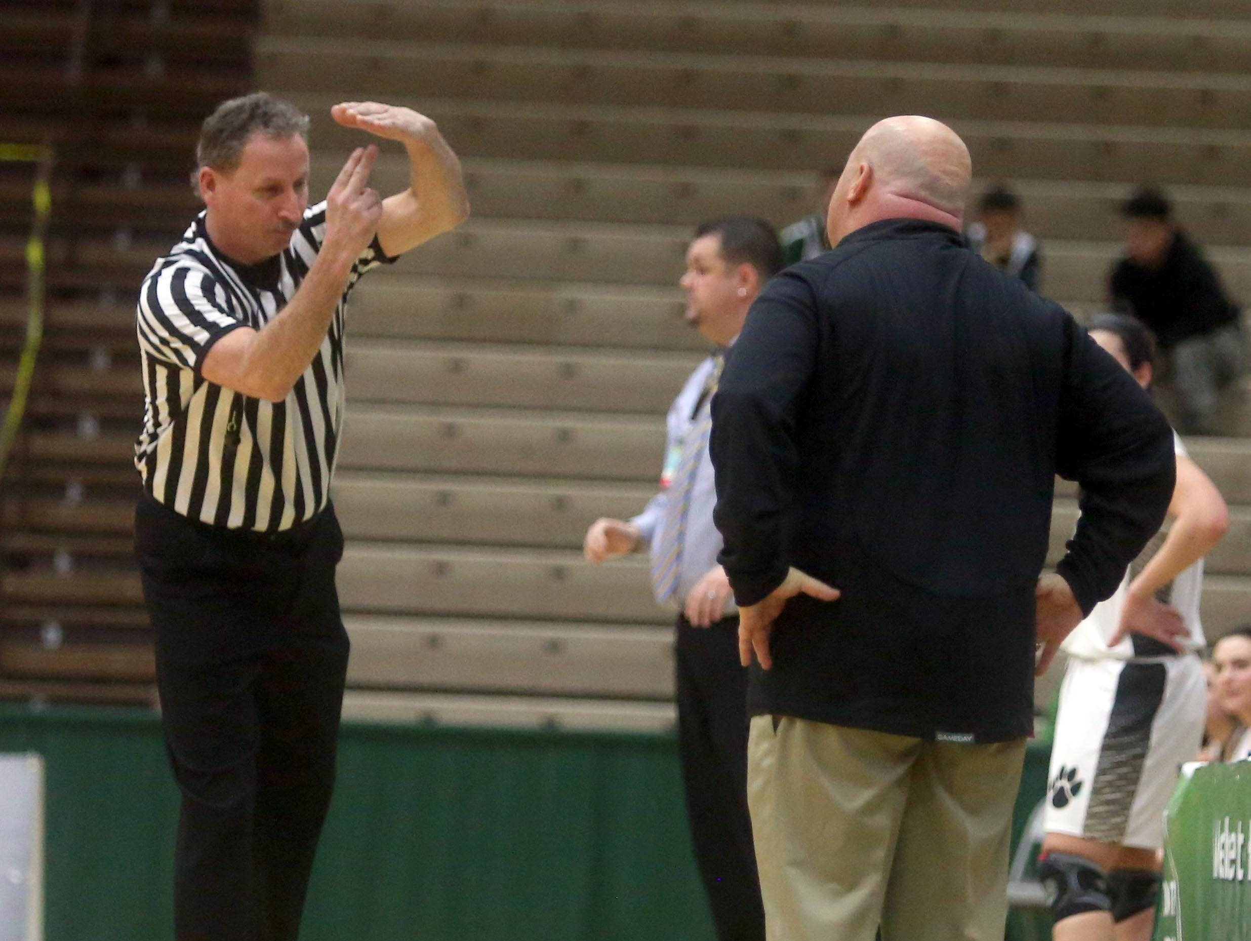 Ossining coach Dan Ricci gets a technical foul during a New York State Class AA semifinal game at Hudson Valley Community College in Troy March 11, 2016. Ossining defeated Cormack 72-55.