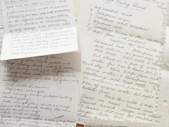 Hand-written recipe  for salt rising bread, an Appalachian