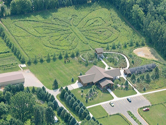 An aerial view of Butterfly Gardens of Wisconsin and its 2-acre butterfly-shaped maze.